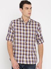 HERE&NOW Men Beige & Brown Regular Fit Checked Casual Shirt