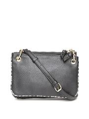 Accessorize Black Snakeskin Textured Sling Bag