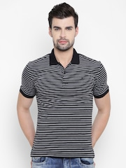 John Players Men Black & Grey Melange Striped Polo Collar T-shirt