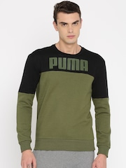 puma hoodie mens. puma men olive green \u0026 black colourblocked sweatshirt hoodie mens 7