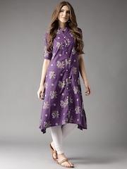 HERE&NOW Women Purple Printed A-Line Kurta