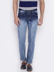 American Crew Men Blue Straight Fit Mid-Rise Mildly Distressed Stretchable Jeans