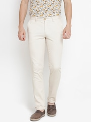 John Players Men Off-White Slim Fit Solid Trousers
