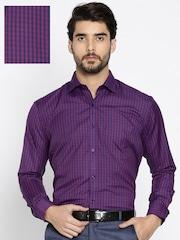 RG DESIGNERS Men Purple & Maroon Slim Fit Checked Formal Shirt
