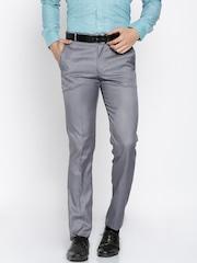 RG DESIGNERS Men Blue Pencil Slim Fit Solid Formal Trousers
