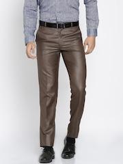 RG DESIGNERS Men Brown Slim Fit Solid Formal Trousers