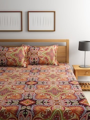 BOMBAY DYEING Multi 120 TC Double Bedsheet With 2 Pillow Covers