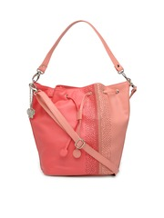 Butterflies Peach-Coloured & Pink Colourblocked Handheld Bag with Detachable String Strap