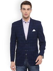 Shaftesbury London Navy Blue Checked Regular Fit Single-Breasted Formal Blazer
