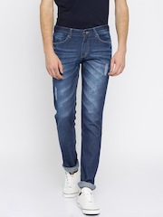 American Crew Men Blue Straight Fit Mid-Rise Mildly Distressed Jeans