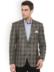 Shaftesbury London Brown Checked Regular Fit Single-Breasted Casual Blazer
