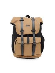 Bags.R.us Unisex Black & Beige Solid Backpack