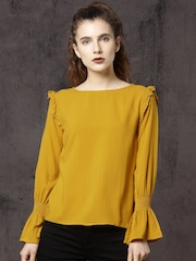 Roadster Women Mustard Yellow Solid Top
