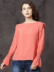 Roadster Women Coral Pink Solid Top
