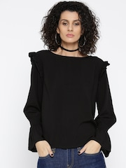 Roadster Women Black Solid Top