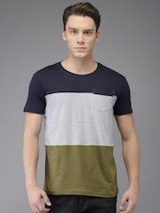 HERE&NOW Men Navy Blue & Grey Colourblocked Round Neck T-shirt