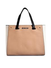 Lisa Haydon for Lino Perros Beige & Black Colourblocked Convertible Handbag