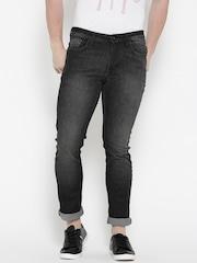 V Dot Men Black Slim Fit Mid-Rise Clean Look Stretchable Jeans