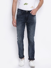 V Dot Men Blue Tapered Fit Mid-Rise Clean Look Stretchable Jeans