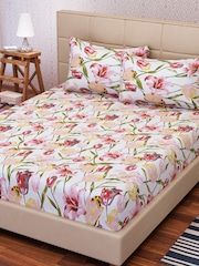 SEJ By Nisha Gupta White U0026 Pink Cotton 144 TC Double King Bedsheet With 2  Pillow