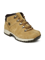 Woodland Men Brown Solid Leather Mid Top Flat Boots