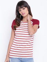 OPt Women Off-White & Maroon Striped Lace Top