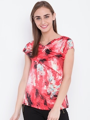 OPt Women Coral Orange & Black Printed Top