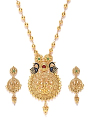 Zaveri Pearls Gold-Toned Stone-Studded Jewellery Set