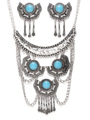 Zaveri Pearls Oxidised Sterling Silver Stone-Studded Jewellery Set