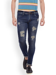 Rodamo Men Blue Slim Fit Mid-Rise Highly Distressed Stretchable Jeans