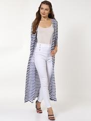 2be491b75 SASSAFRAS Women Navy Blue & White Striped Open Front Longline Shrug