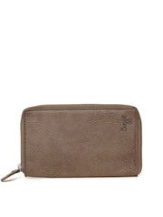 Baggit Men Brown Solid Zip Around Wallet