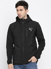 Puma Men Black Solid Hooded Jacket