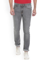 VUDU Men Grey Slim Fit Mid-Rise Clean Look Jeans