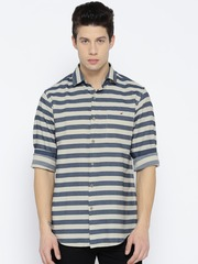 Wills Lifestyle Men Navy & Off-White Slim Fit Striped Casual Shirt