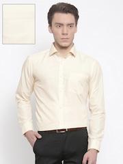 RG DESIGNERS Men Cream-Coloured Slim Fit Solid Formal Shirt