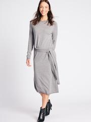 Marks Spencer Women Grey Melange Solid Midi Shift Dress