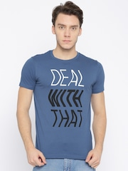 Splash Men Blue Printed Round Neck T-shirt