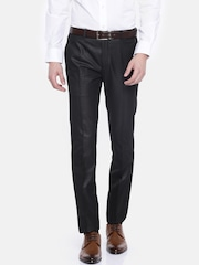 Theme Men Brown Tapered Fit Solid Formal Trousers