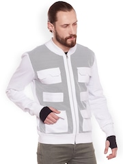 FUGAZEE Men White Self Design Bomber