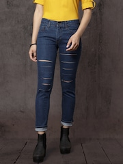 Roadster Women Blue Skinny Fit Mid-Rise Highly Distressed Stretchable Jeans