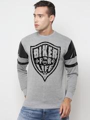 SayItLoud Men Grey Printed Sweatshirt