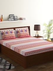 BOMBAY DYEING Red Abstract Flat 130 TC Polycotton 1 King Bedsheet With 2  Pillow Covers
