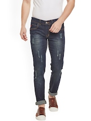 LaMODE Men Blue Relaxed Fit Mid-Rise Low Distress Stretchable Jeans