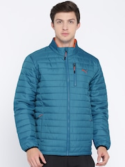 Puma Men Blue Solid Puffer PWRWARM Quilted Jacket