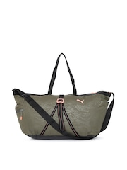 Puma Women Olive Green Fit AT Workout Duffel Bag