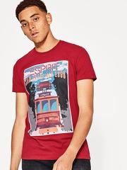 ESPRIT Men Red Printed Round Neck T-shirt