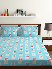 BOMBAY DYEING Blue Floral Flat 120 TC Cotton 1 King Bedsheet With 2 Pillow  Covers