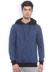 SayItLoud Men Blue Solid Hooded Sweatshirt
