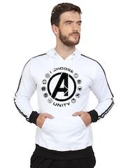 SayItLoud Men White Printed Hooded Sweatshirt